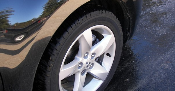 the back wheel of a new car