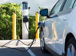 an electric car recharging