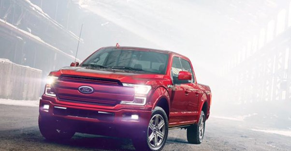 a red 2018 ford f150