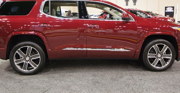 a red 2019 gmc acadia