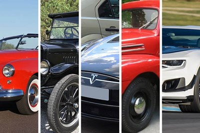 a collage of five classic american cars
