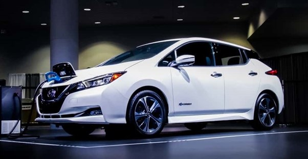 a white 2019 nissan leaf