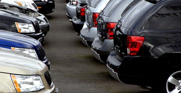 Line of cars at a dealership lot